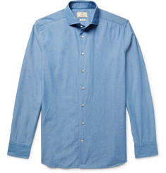 Hackett Slim-Fit Cutaway-Collar Textured-Cotton Shirt