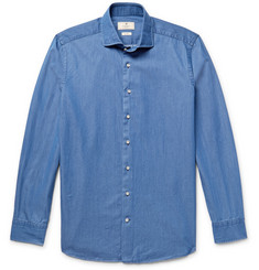 Hackett Slim-Fit Cutaway-Collar Polka-Dot Cotton-Chambray Shirt