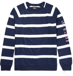 Stüssy Embroidered Striped Cotton-Jersey Sweatshirt