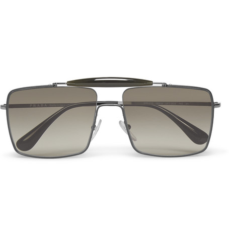 202441ec4794 Prada Square-Frame Silver-Tone Sunglasses
