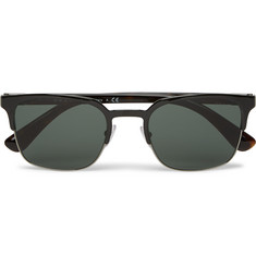 Prada - Square-Frame Metal and Tortoiseshell Acetate Sunglasses