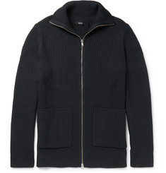 Theory Ronzons Ribbed-Knit Zip-Up Cardigan