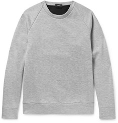Theory Brence Contrast-Trimmed Mélange Bonded Jersey Sweatshirt