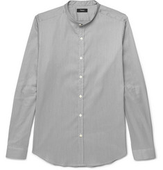 Theory - Zack Slim-Fit Grandad-Collar Striped Stretch Cotton-Blend Shirt