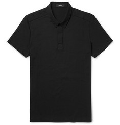 Theory Milten Slim-Fit Poplin-Trimmed Cotton-Blend Piqué Polo Shirt