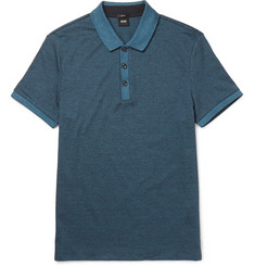 Hugo Boss Phillipson Slim-Fit Mélange Cotton-Piqué Polo Shirt