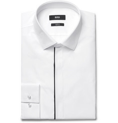 Hugo Boss White Jamis Slim-Fit Contrast-Trimmed Cotton-Poplin Shirt