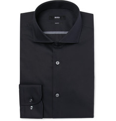 Hugo Boss Blue Jerrin Slim-Fit Cutaway-Collar Cotton-Poplin Shirt