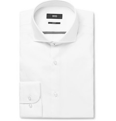 Hugo Boss White Jerrin Slim-Fit Cutaway-Collar Cotton Shirt