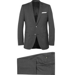 Hugo Boss Grey Checked Super 120s Virgin Wool Suit