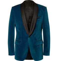 Hugo Boss Blue Hockley Slim-Fit Satin-Trimmed Velvet Tuxedo Jacket