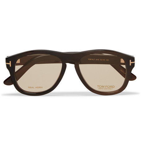 tom ford male tom ford private collection aviatorstyle horn optical glasses brown