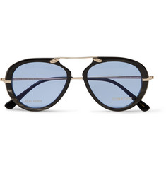 Tom Ford Aviator-Style Horn and Gold-Tone Sunglasses