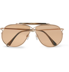 Tom Ford - Private Collection Aviator-Style Horn-Trimmed Rose Gold-Tone Photochromic Sunglasses
