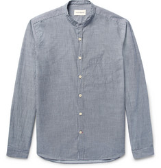 Oliver Spencer Grandad-Collar Pinstriped Cotton Shirt