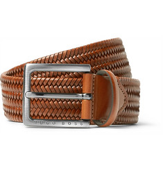 Hugo Boss - 3.5cm Brown Semyo Woven Leather Belt