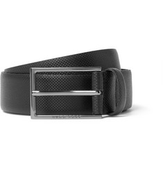 Hugo Boss 3.5cm Black Carmello Textured-Leather Belt