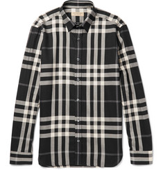 Burberry Slim-Fit Checked Cotton and Cashmere-Blend Shirt