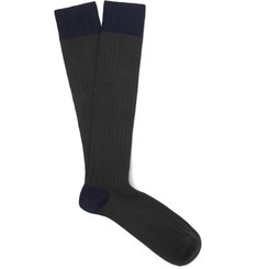 Oliver Spencer Loungewear - Ribbed Stretch Cotton-Blend Over-the-Calf Socks