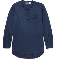Blue Blue Japan Collarless Cotton-Dobby Shirt