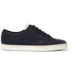John Lobb Cap-Toe Suede and Leather Sneakers