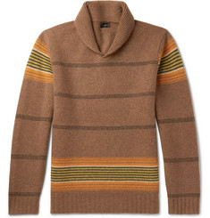 J.Crew Shawl-Collar Striped Lambswool Sweater