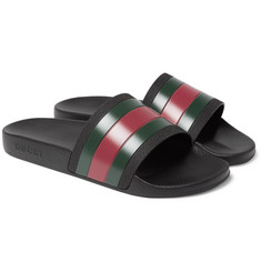 Gucci - Striped Leather Slides