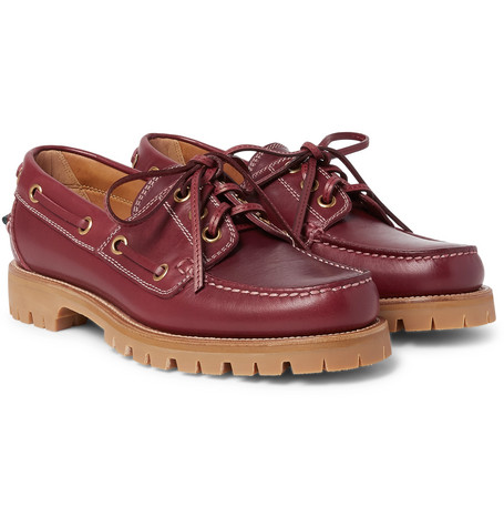gucci male gucci leather boat shoes burgundy