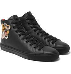 Gucci - Appliquéd Grained-Leather High-Top Sneakers
