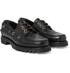 Gucci - Embossed Leather Boat Shoes