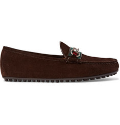 Gucci Horsebit Webbing-Trimmed Suede Driving Shoes