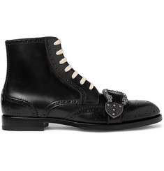 Gucci Embellished Leather Brogue Boots