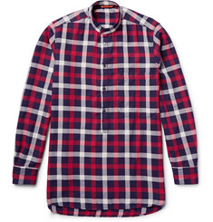 Barena Grandad-Collar Checked Cotton-Twill Shirt