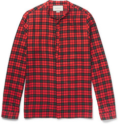 Gucci Slim-Fit Tie-Neck Checked Cotton-Blend Shirt
