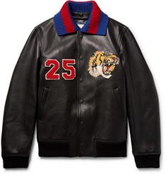 Gucci Appliquéd Leather Bomber Jacket