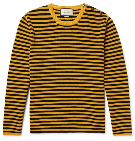 Gucci - Button-Embellished Striped Cotton Sweater