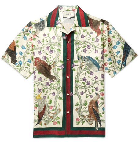 gucci male gucci campcollar printed silk shirt beige