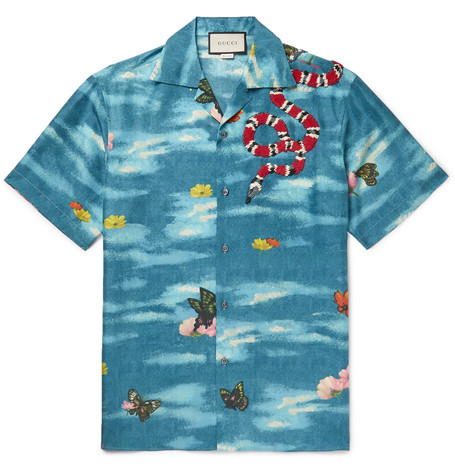 gucci male gucci campcollar appliqued printed silk shirt blue