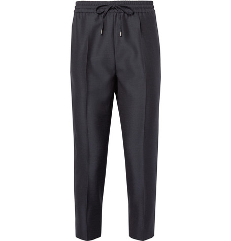 gucci male 217293 gucci tapered cropped wool and mohairblend drawstring trousers charcoal