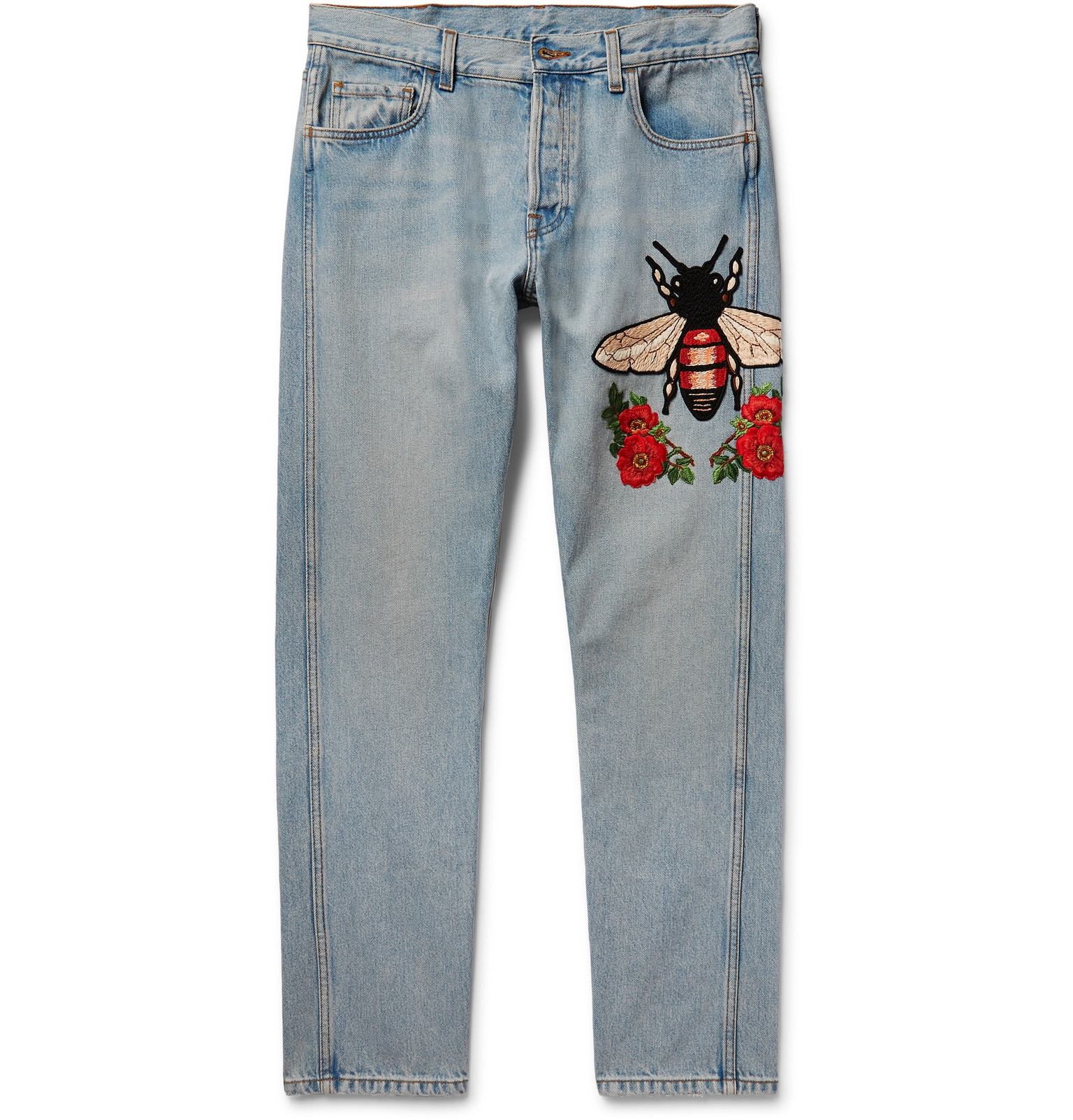 gucci jeans. gucci slim-fit embroidered stonewashed denim jeans c