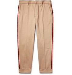 Gucci Tapered Cropped Webbing-Trimmed Cotton-Twill Chinos