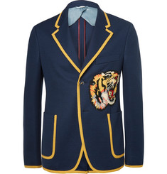 Gucci Blue Slim-Fit Appliquéd Cotton Blazer