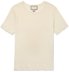 Gucci Oversized Snake-Embroidered Cotton and Linen-Blend T-Shirt