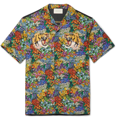 gucci male gucci appliqued floralprint washedsilk shirt multi