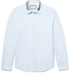 Gucci Slim-Fit Embroidered Cotton-Poplin Shirt