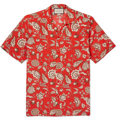 Gucci Camp-Collar Floral-Print Silk Shirt