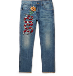 Gucci - Slim-Fit Embroidered Stonewashed Denim Jeans