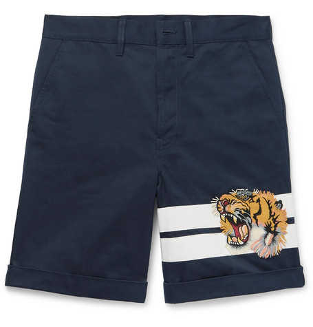 gucci male gucci appliqued cottongabardine shorts navy