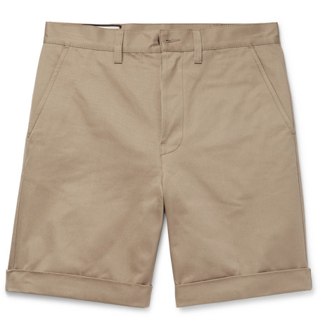 gucci male gucci appliqued cottontwill shorts brown