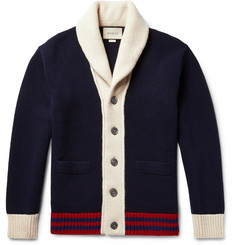 Gucci Shawl-Collar Colour-Block Wool Cardigan